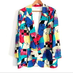 Vintage Colorful Print 80s Long Linen Blazer